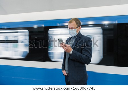 Horizontal coup Homme voyageur transport public Photo stock © vkstudio