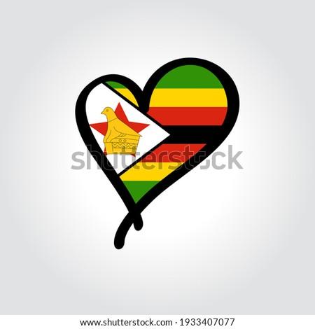 Vlag Zimbabwe vorm hart opschrift liefde Stockfoto © butenkow
