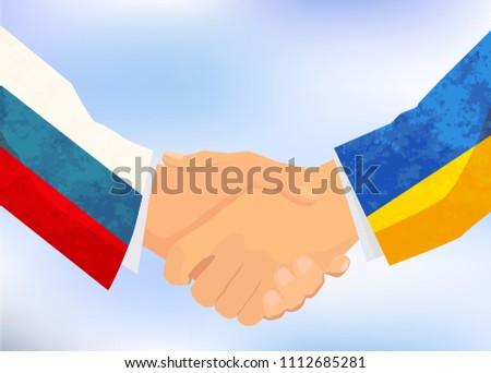 Rusia Ucrania apretón de manos ilustración cielo azul mano Foto stock © evgeny89