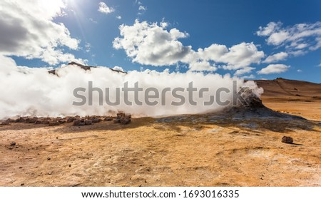iceland volcanic landscape steam vent geothermal europe nature Stock photo © travelphotography