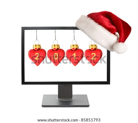 Cristmas online shopping concept - Computer monitor with Santa h Stock photo © dmitry_rukhlenko