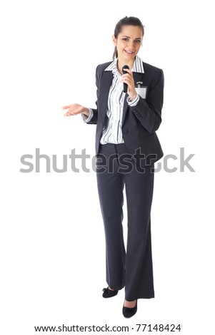 Smiling Caucasian Woman Holding Microphone Isolated White Backgr Stock photo © Qingwa