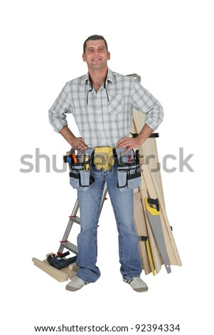 portrait of carpenter fully equipped standing with arms akimbo Stock photo © photography33