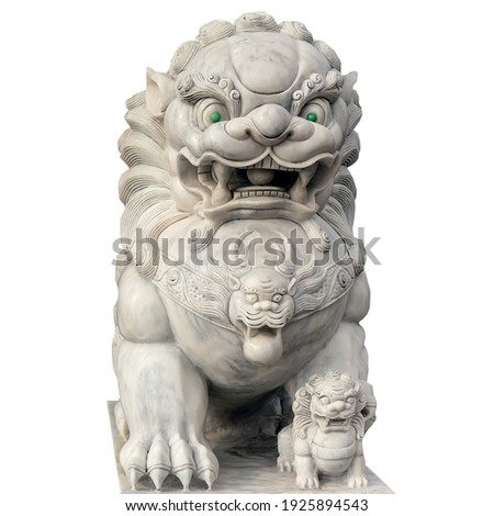 japanese stone guardian lion with cub sculpture stock photo © davidgn