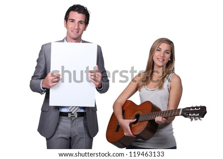 Teenage girl playing guitar teacher holding blank message board Stock photo © photography33