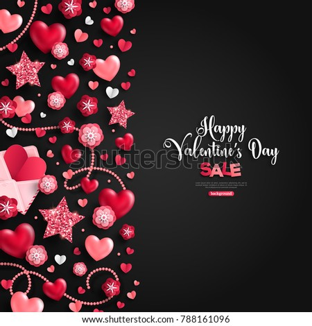 valentines day vertical banner with pearls heart vector illustration stock photo © carodi