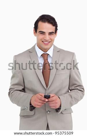 Lächelnd Verkäufer halten Mobiltelefon weiß Lächeln Stock foto © wavebreak_media