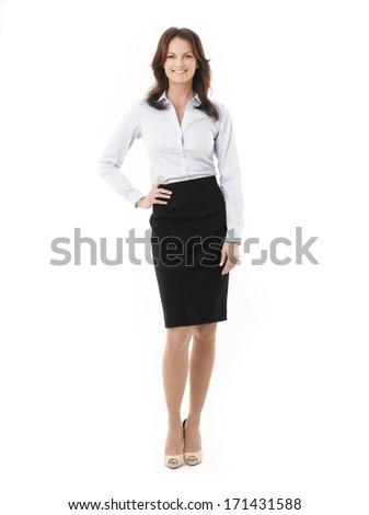 portré · fiatal · nő · áll · felfelé · fehér · nő - stock fotó © wavebreak_media