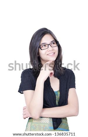 ストックフォト: スマート · 見える · 小さな · 十代の少女 · 笑みを浮かべて · 子