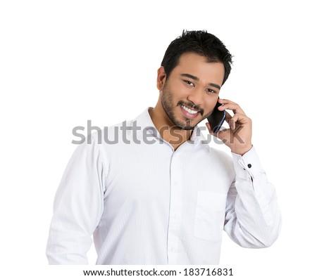 Homem de negócios falante celular agradável veja um Foto stock © dacasdo