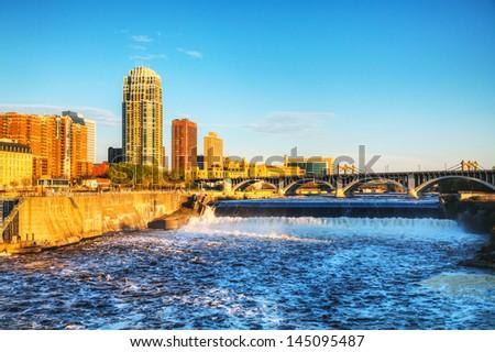 centro · da · cidade · Minnesota · de · manhã · cedo · céu · cidade · rua - foto stock © andreykr