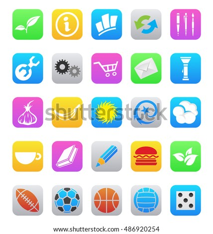 various ios 7 style mobile app icons isolated on a white backgro Stock photo © cidepix