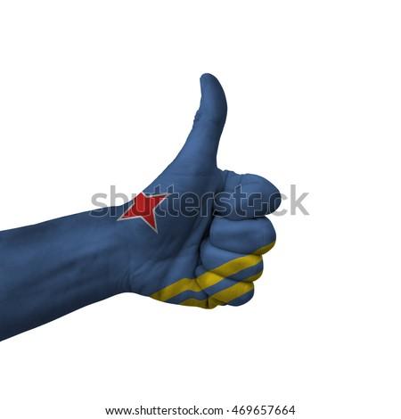 Vlag duim omhoog gebaar uitmuntendheid hand Stockfoto © vepar5