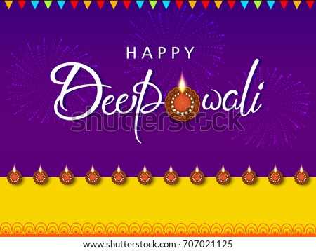 Hindu festival Diwali illuminating Diya colorful vector illustra Stock photo © bharat
