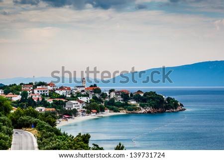 Town of Gradac on Makarska Riviera and Island Brac in Background Stock photo © anshar