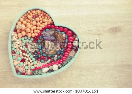 blue postcard on valentines day with pendants hearts chain of go stock photo © yurkina