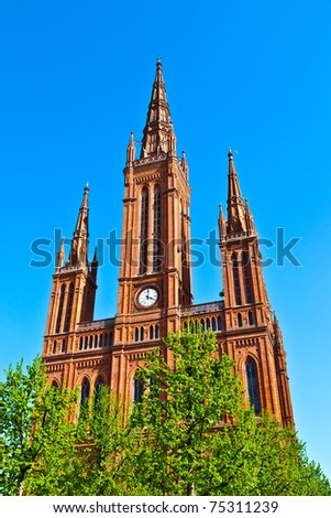 famous markt kirche in wiesbaden a brick building in neo gothic stock photo © meinzahn