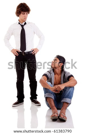 two men of different ethnicity, one looking at the other standing Stock photo © alexandrenunes