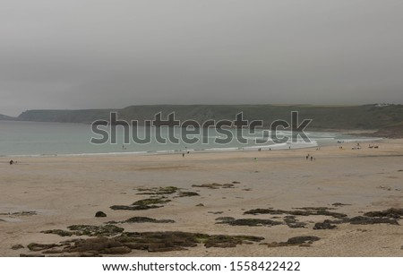 Panoramic view of Gwynver beach and coast path in Cornwall UK. Stock photo © latent