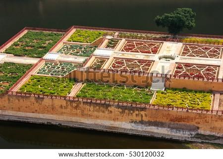 Jezioro ogrody bursztyn fort Indie ściany Zdjęcia stock © meinzahn