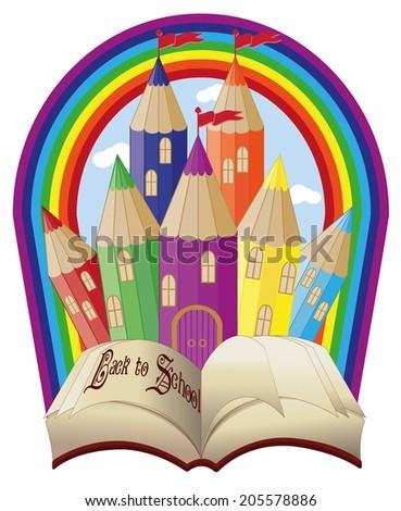 Powrót do szkoły elegancki magiczny bajki zamek niebo Zdjęcia stock © carodi