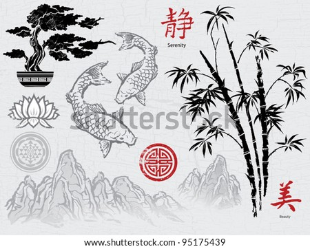 vector of chinese traditional artistic buddhism pattern stock photo © jackybrown