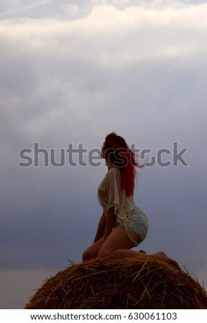 ファッション 写真 美人 座って 俵 小麦 ストックフォト © Geribody