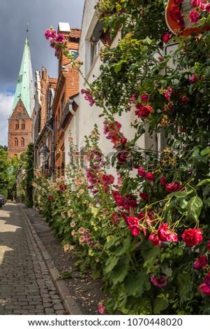 The Holsten Gate (Holstentor) in Lubeck old town, Schleswig-Hols Stock photo © meinzahn