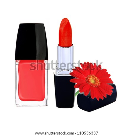 red nail polish, lipstick and red gerbera flower on white backgr Stock photo © tetkoren