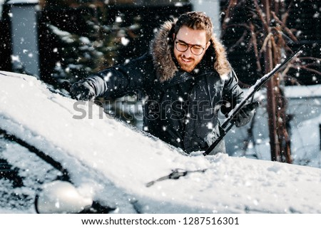 brush with scraper for cleaning car from snow and ice illustrati Stock photo © konturvid