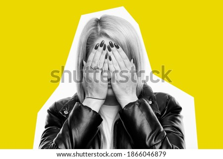 Depressed attractive woman closed face by hand and measuring waist Stock photo © deandrobot