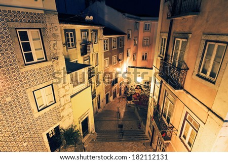 Lisbon at night, streets and old houses of the historic quarter  Stock photo © meinzahn