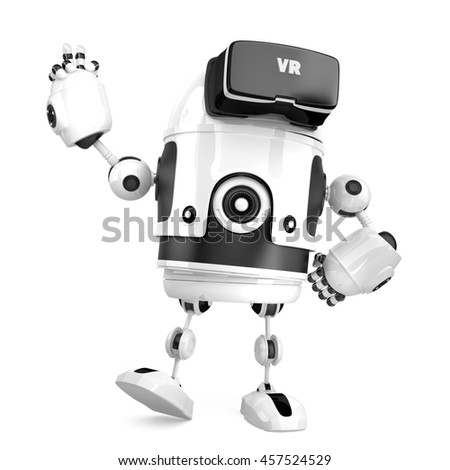 3D robot with VR glasses. 3D illustration. Isolated. Contains cl Stock photo © Kirill_M