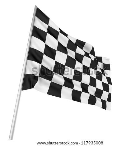 finishing checkered flag on white background. Isolated 3D image Stock photo © ISerg
