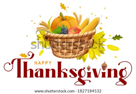 happy thanksgiving lettering text rich harvest of grapes apple corn orange and roasted turkey stock photo © orensila