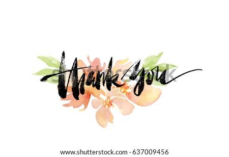 Dziękuję atramentu wyrażenie akwarela malowany internetowych Zdjęcia stock © mcherevan