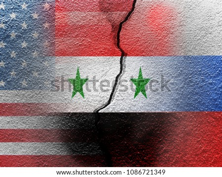 map of syria divided with usa and russia flags with surrounding countries   3d render stock photo © danilo_vuletic