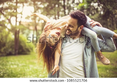улыбаясь отец дочь Плечи молодые Сток-фото © maia3000