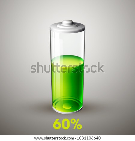 Battery charging. Battery full level, isolated on grey, 3d illustration Stock photo © tussik