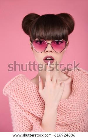 Szépség smink divat tinilány modell barna hajú Stock fotó © Victoria_Andreas