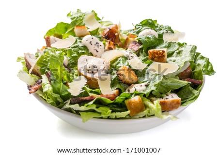 Frescos ensalada cesar blanco tazón queso parmesano superior Foto stock © Yatsenko