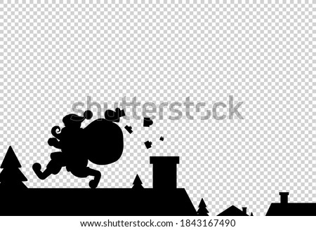 happy santa with christmas banner on the roof   isolated vector stock photo © nikodzhi