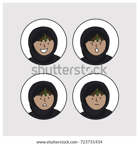 set four arab girls avatars in different traditional headdresses stock photo © nikodzhi