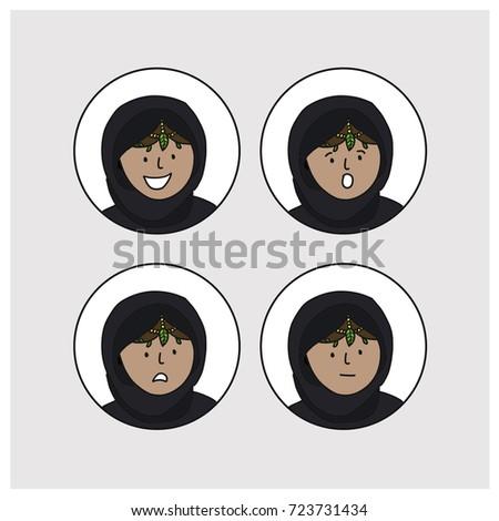 セット 4 アラブ 女の子 異なる 伝統的な ストックフォト © NikoDzhi
