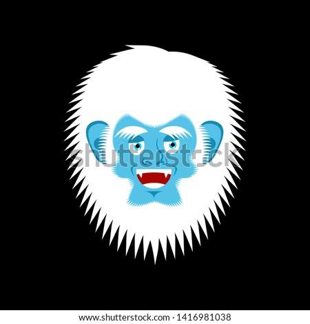 Bigfoot happy face. Yeti cheerful emoji. Abominable snowman merr Stock photo © popaukropa