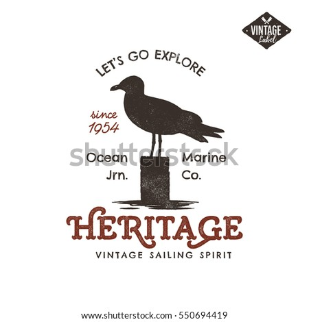 Vintage hand drawn label design. Seagull symbol. Letterpress effect. Typography insignia, t-shirt, c Stock photo © JeksonGraphics