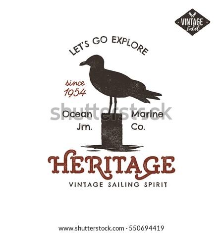 vintage · dibujado · a · mano · etiqueta · diseno · gaviota · símbolo - foto stock © jeksongraphics