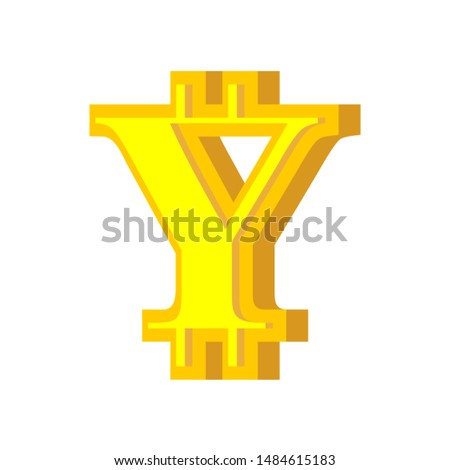 Y letter bitcoin font. Cryptocurrency alphabet. Lettering virtua Stock photo © popaukropa
