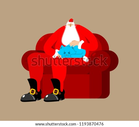 Santa Claus on chair stroking cat. Christmas and New Year Vector Stock photo © popaukropa