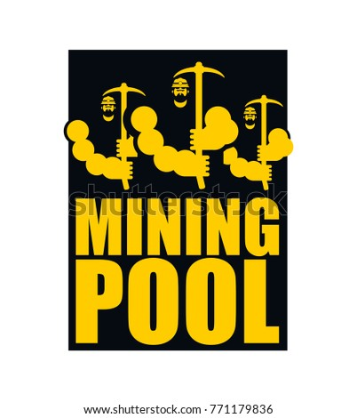 Mining pool logo. Extraction of Bitcoin Crypto Currencies. Worke Stock photo © popaukropa